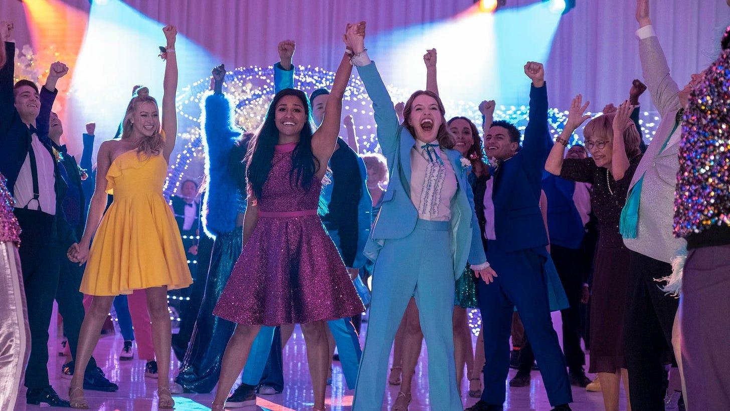 Ariana DeBose as Alyssa and Jo Ellen Pellman as Emma in Netflix's The Prom