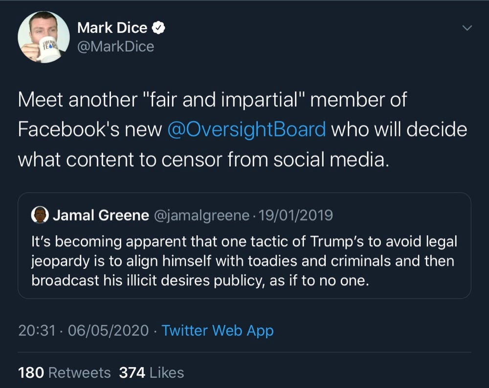 "Jamal Greene accused President Trump of aligning himself with ""toadies and criminals"" (Twitter - @MarkDice, @jamalgreene)"