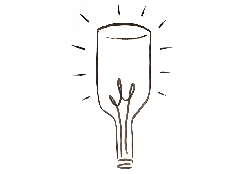 Ah So Insights' logo, an upside down wine bottle shining like a lightbulb