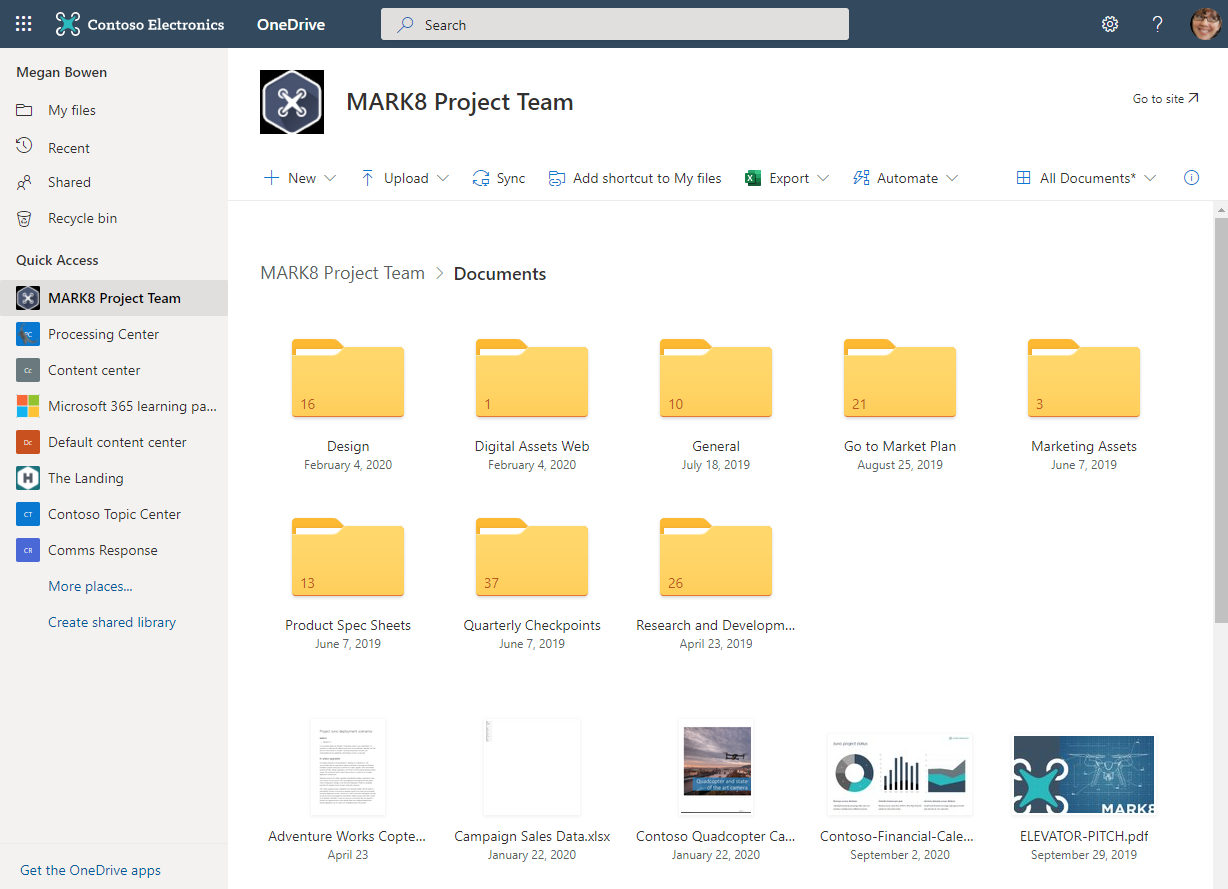 Megan Bowen work files and folders within her Contoso Inc. OneDrive work account.