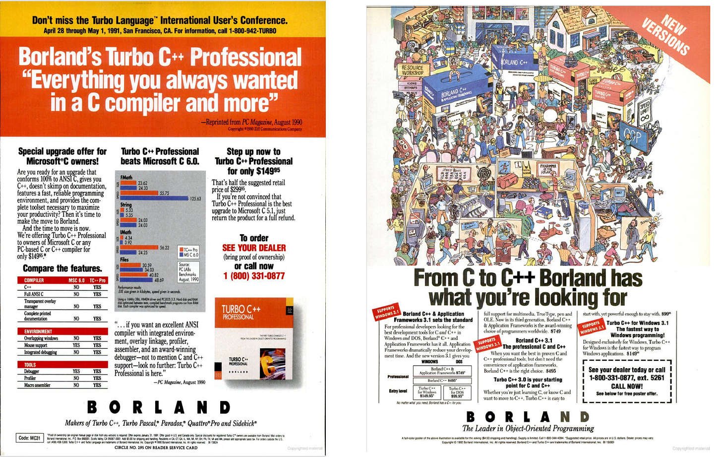 Advertisements for Borland C++
