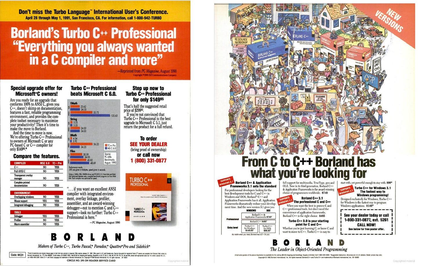 Advertisements for Borland C++