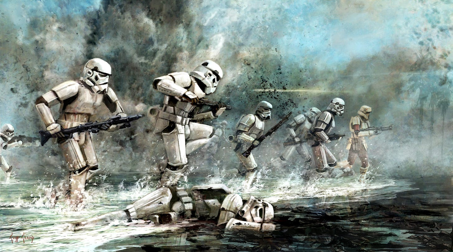 Stormtroopers advancing in water over the bodies of other Stormtroopers