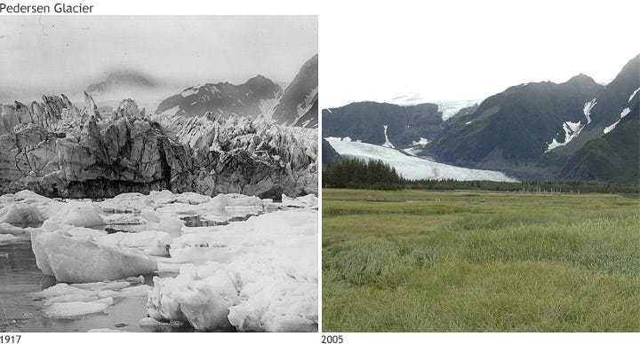 Photo comparison of Alaska's Pedersen Glacier in 1917 and 2005