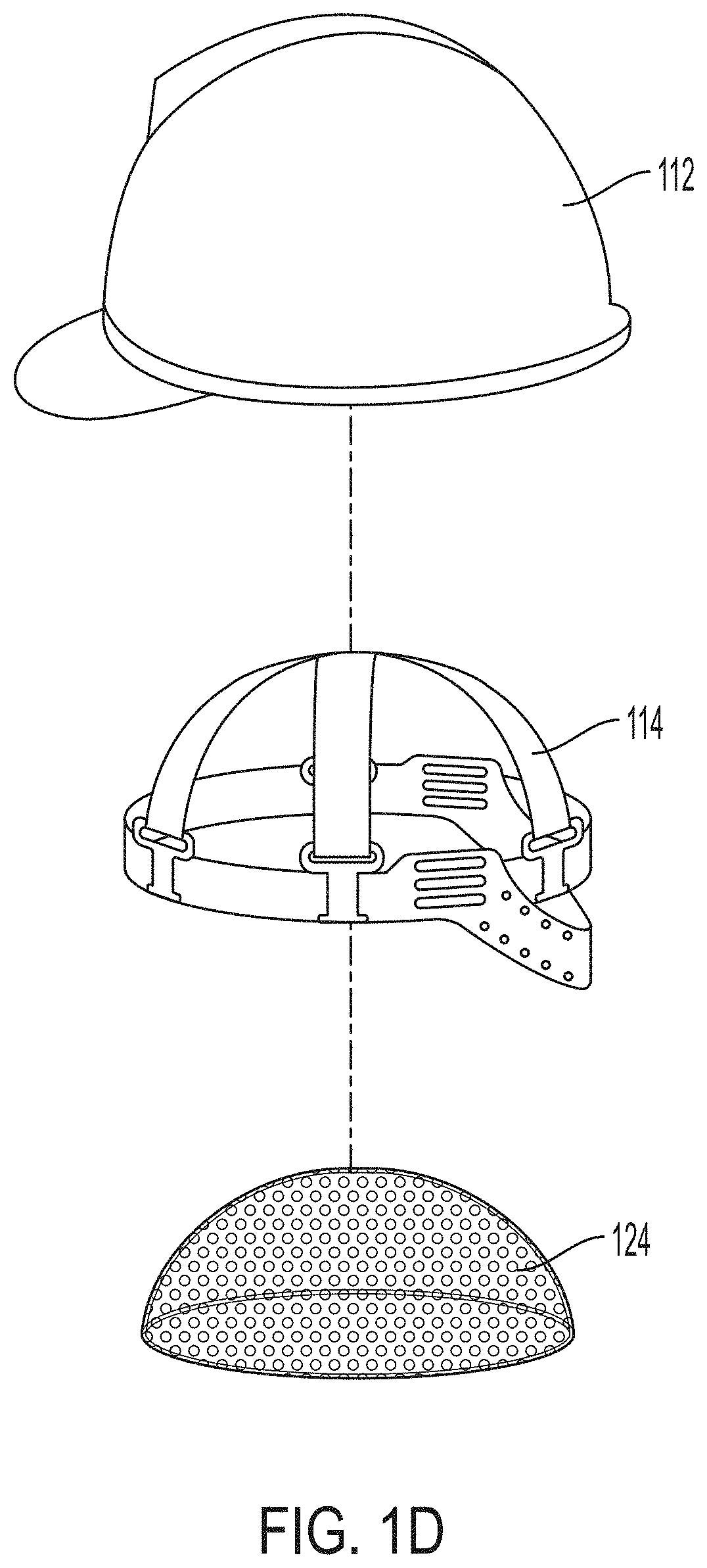 Image of the helmet with the air bubble cushioning.