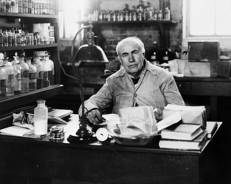 American inventor Thomas Alva Edison (1847 - 1931), in his laboratory at Orange, New Jersey.