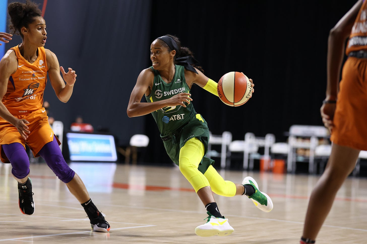 PALMETTO, FL- SEPTEMBER 11: Jordin Canada #21 of the Seattle Storm drives to the basket against the Phoenix Mercury on September 11, 2020 at Feld Entertainment Center in Palmetto, Florida.