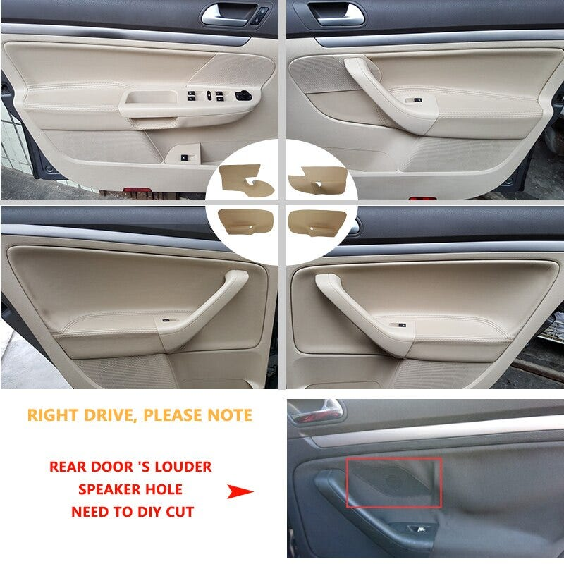 LHD Car Microfiber Leather Door Handle Armrest Panel Cover Trim For VW Jetta 2005 2006 2007 2008 2009 2010 / Golf 5