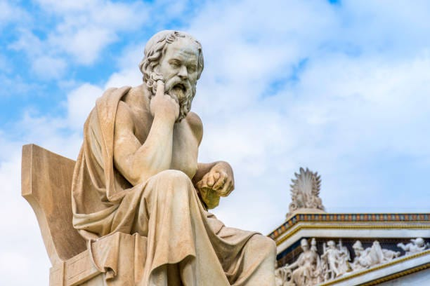 Ancient marble statue of the great Greek philosopher Socrates on background the blue sky Ancient marble statue of the great Greek philosopher Socrates on background the blue sky, Athens, Greece Socrates stock pictures, royalty-free photos & images