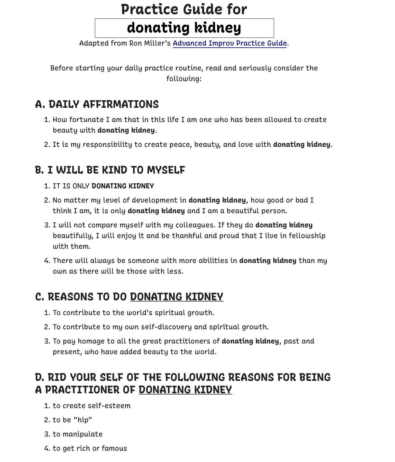 A screenshot of the Practice Guide for donating kidney. It's long, hit the link in the caption for the full text.