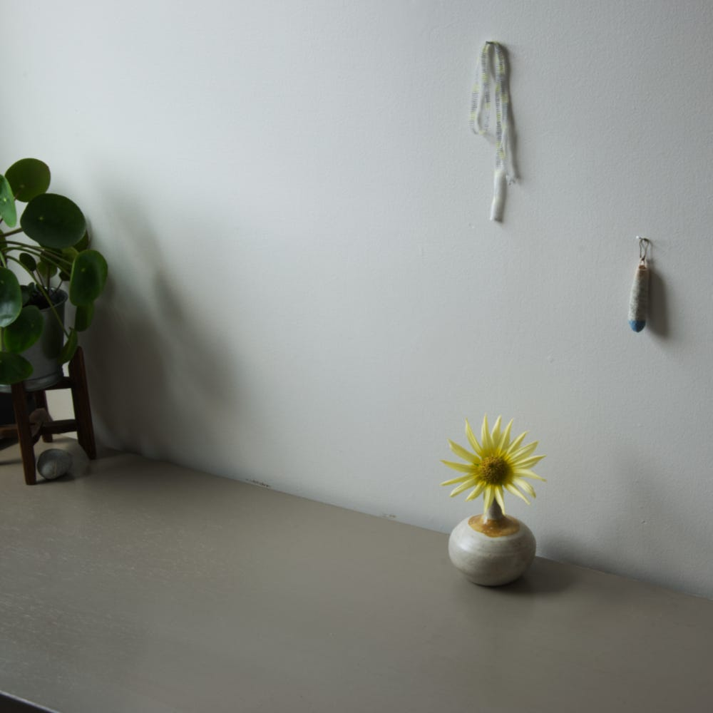 A pilea sits on a stand in the left hand side of the frame, while a small sunflower rests in a bud-vase towards the right. Small strings hang on the wall, and a wee crocheted bag