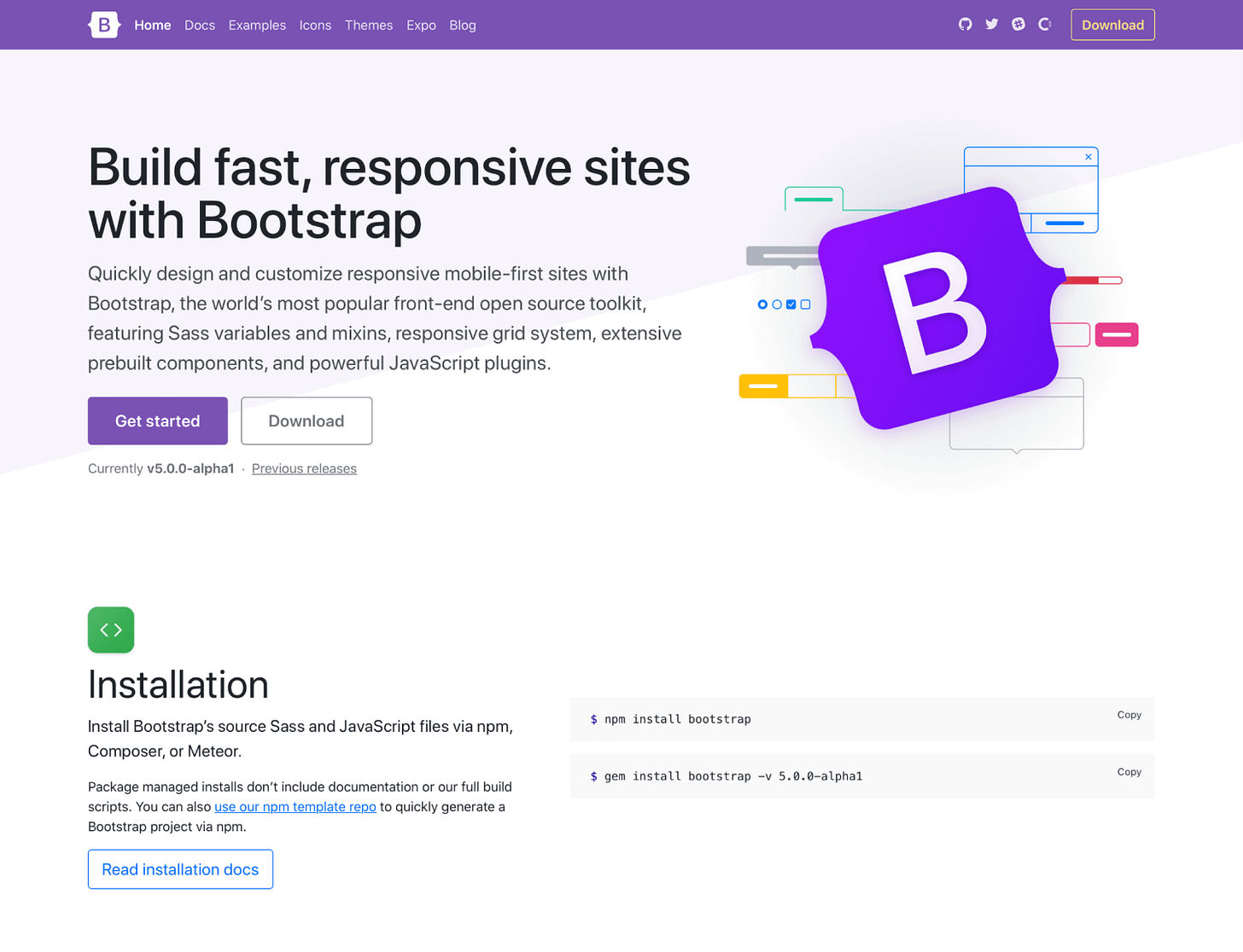 New Bootstrap docs layout
