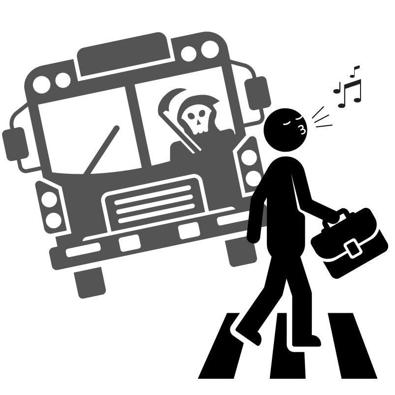 Whistling Man about to be hit by bus driven by grim reaper