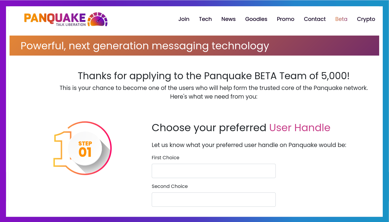 Panquake Team of 5000 BETA application.