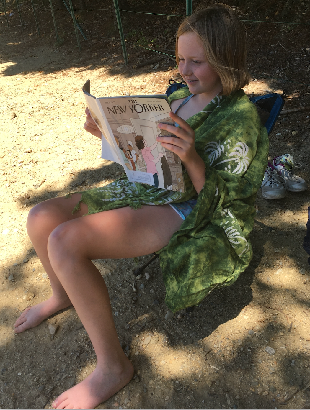 Eleven-year-old reading The New Yorker at Walden Pond