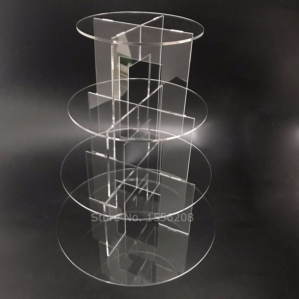 Hot Sell New Assemble And Disassemble Round Acrylic 4 Tier Cupcake Cake Stand For Birthday Wedding Party Cake Shop Home Display