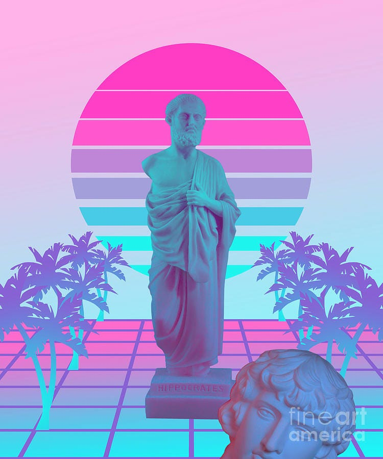 Vaporwave Greek Statue Giff for fans of physics and Science design Digital  Art by DC Designs SuaMaceir