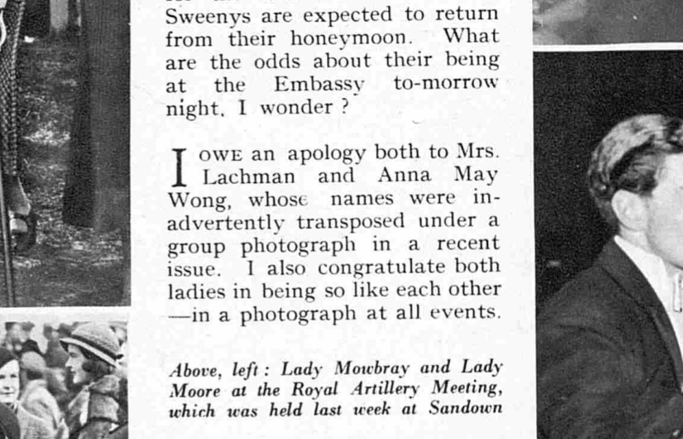 clipping of the correction in The Bystander regarding the previously run photo of the Lachmans' party for Diana Wynyard