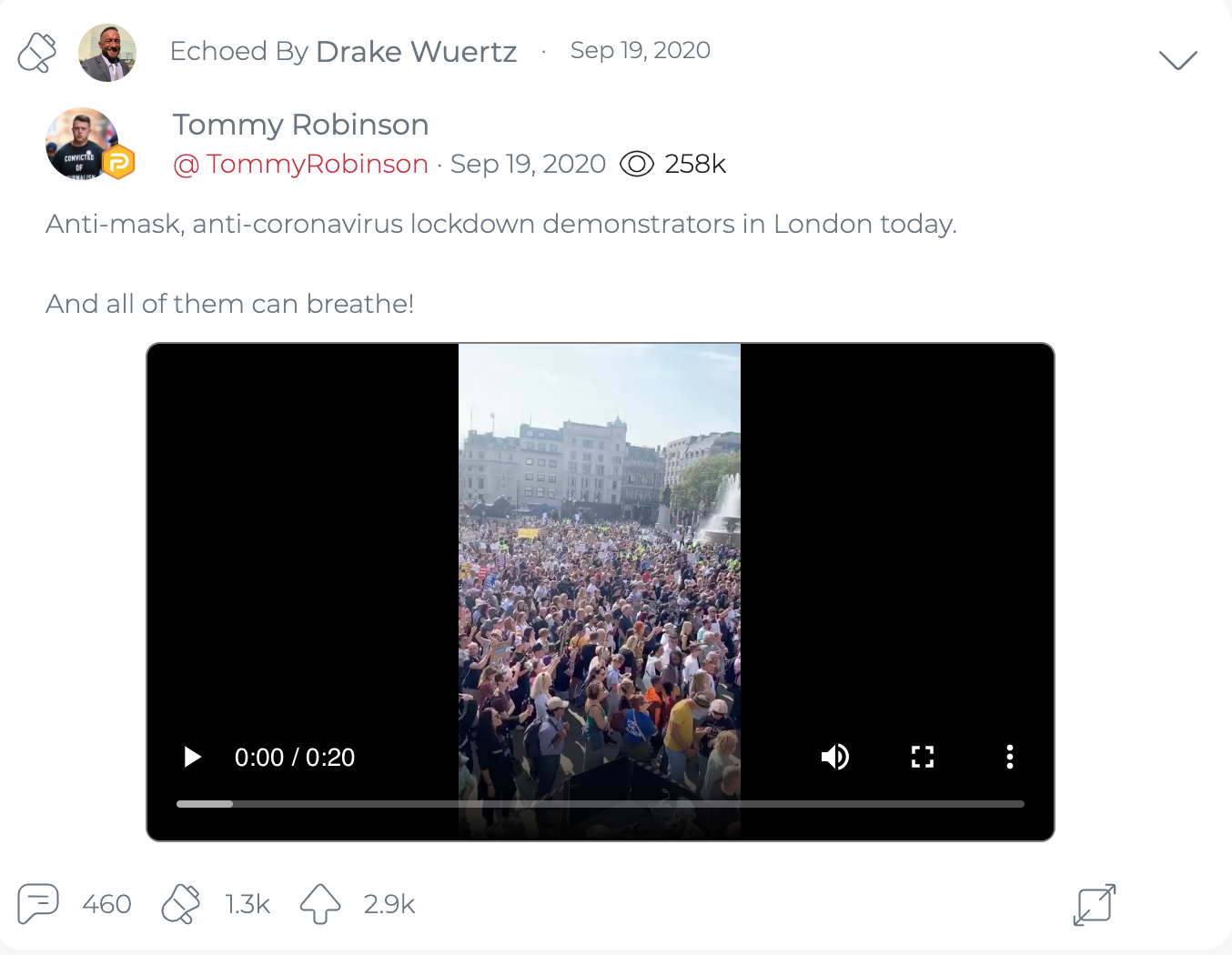 "@DrakeWuertzFLA's first ""echo"" of Tommy Robinson, sharing a September 19, 2020 post about a video of an anti-mask rally in London. (Image: Parler screenshot)"