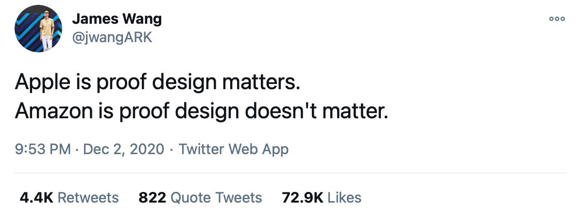 Apple is proof design matters. Amazin is proof design doesn't matter.