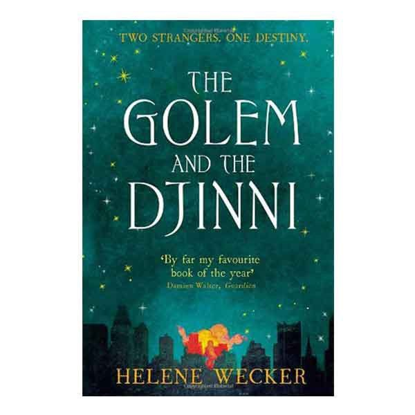 Cover of The Golem and the Djinni—Largely dominated by the title on a painted starry sky background