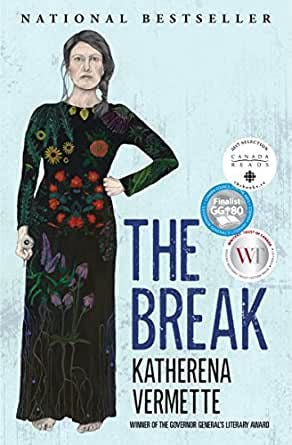 Cover of The Break—Colourful drawing of a woman in a black and flower covered dress & serious expression.