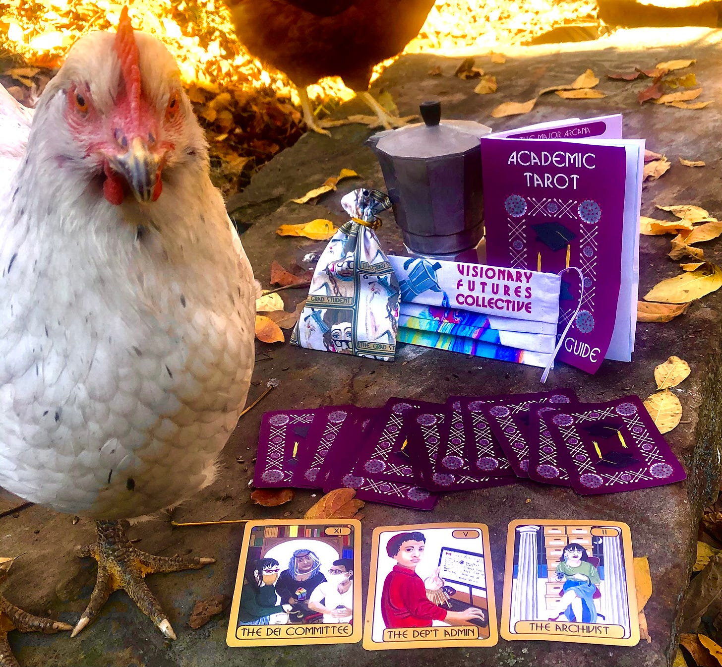 A white chicken stares into the camera next an array of VFC swag, including a VFC covid mask, a printed tarot deck, and a booklet.