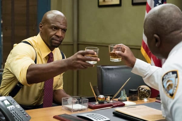 "An episode of ""Brooklyn Nine-Nine"" depicted Terry Crews's character, left, experiencing racial profiling."