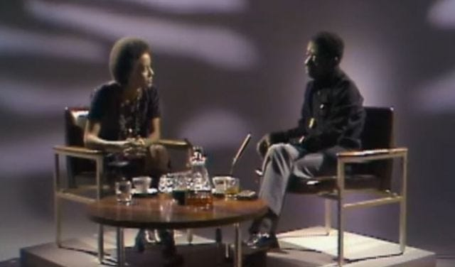 A still from James Baldwin and Nikki Giovanni in conversation