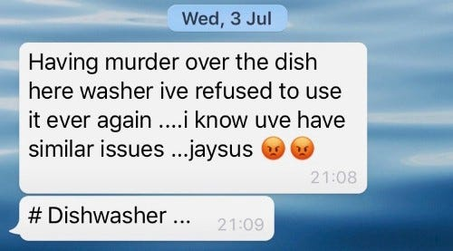 screenshot of the text my mate Dave sent me regarding the pain of the dishwasher
