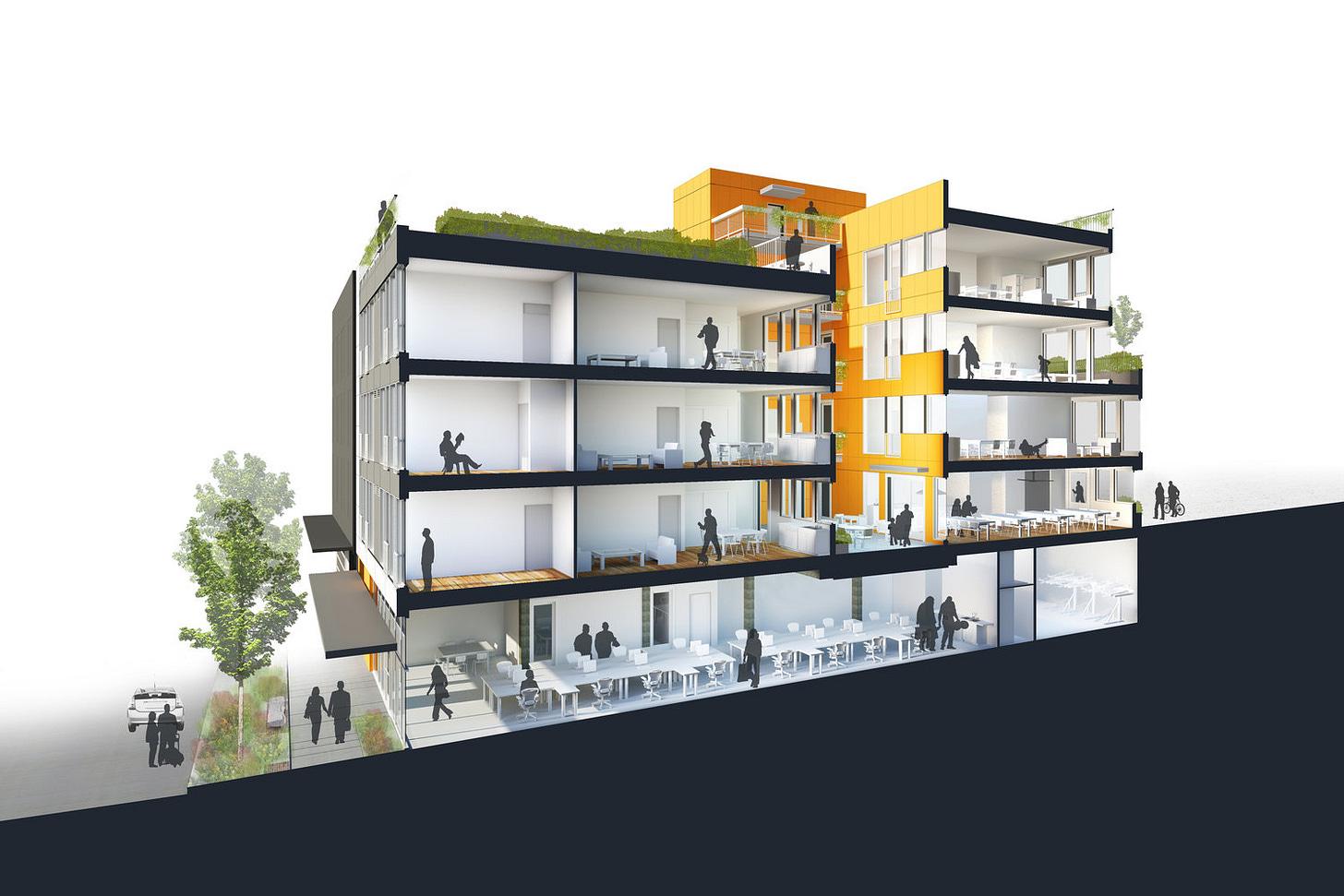 Building Design at Capitol Hill Urban Cohousing (credit: Schemata Workshop)