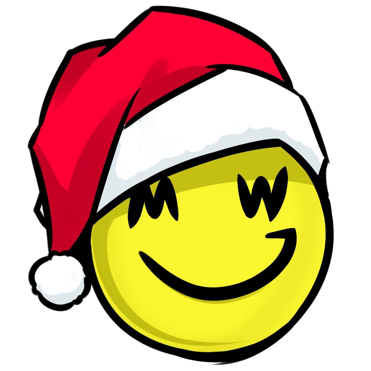 grin smiely logo wearing a santa cap