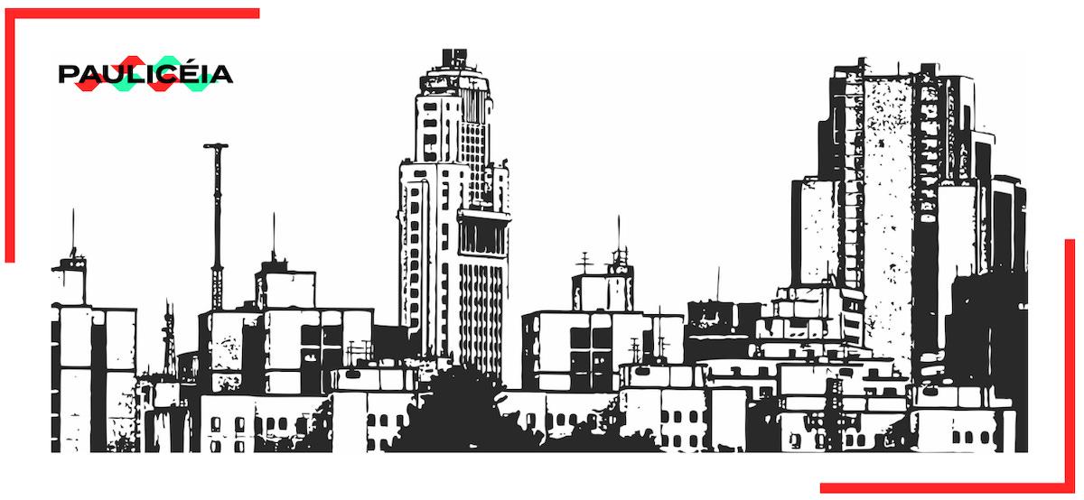Desenho em preto e branco com paisagem de vários prédios no centro de São Paulo.