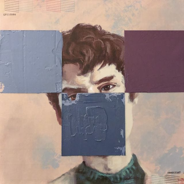 Portrait of young man with squares