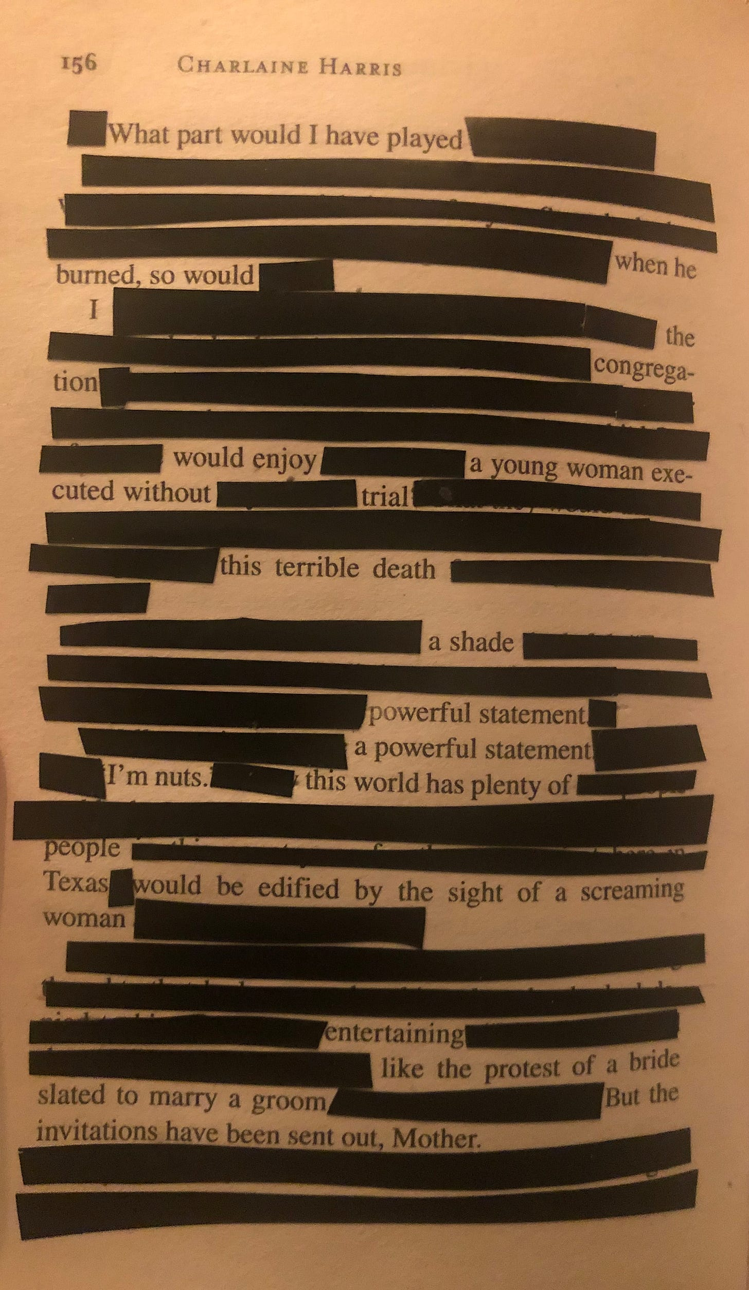 An erasure poem made with electrical tape using Charlaine Harris' book, Living Dead in Dallas, as a source text
