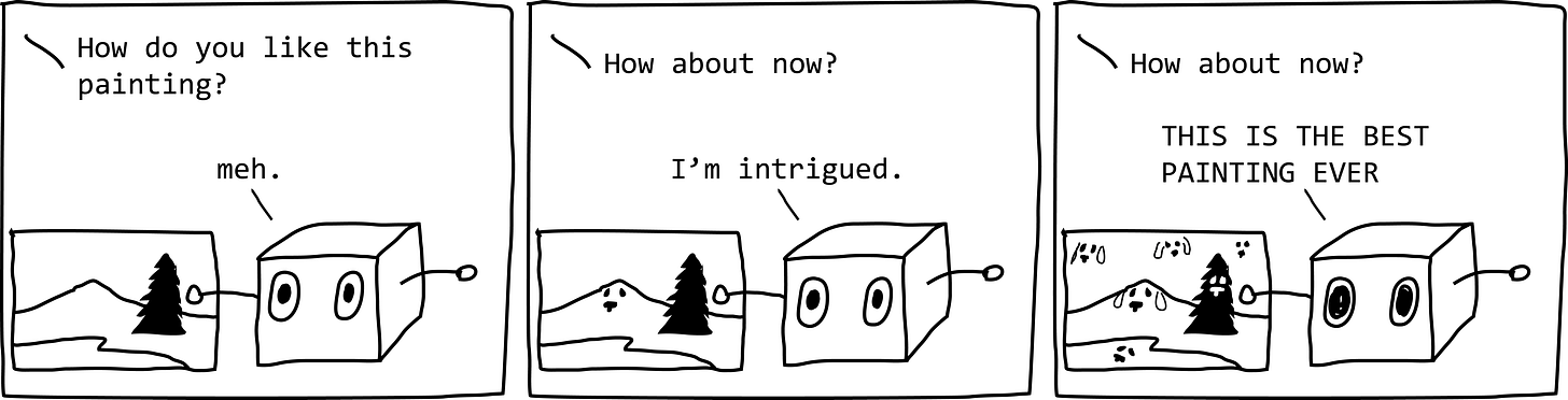 """First panel: Voice: """"How do you like this painting?"""" Painting is of a single pine tree by a lake with a mountain. Robot box: """"Meh."""" Second panel: Voice: """"How about now?"""" The mountain now has a dog face. Robot box: """"I'm intrigued."""" Third panel: Voice: """"How about now?"""" Sky, lake, and pine tree all have dog faces. Robot box: """"THIS IS THE BEST PAINTING EVER!"""""""