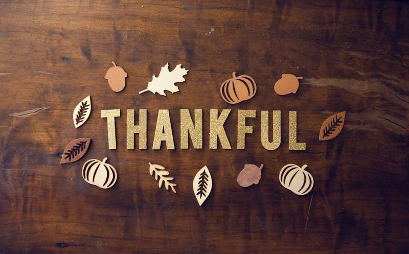 thankful spelled out on table