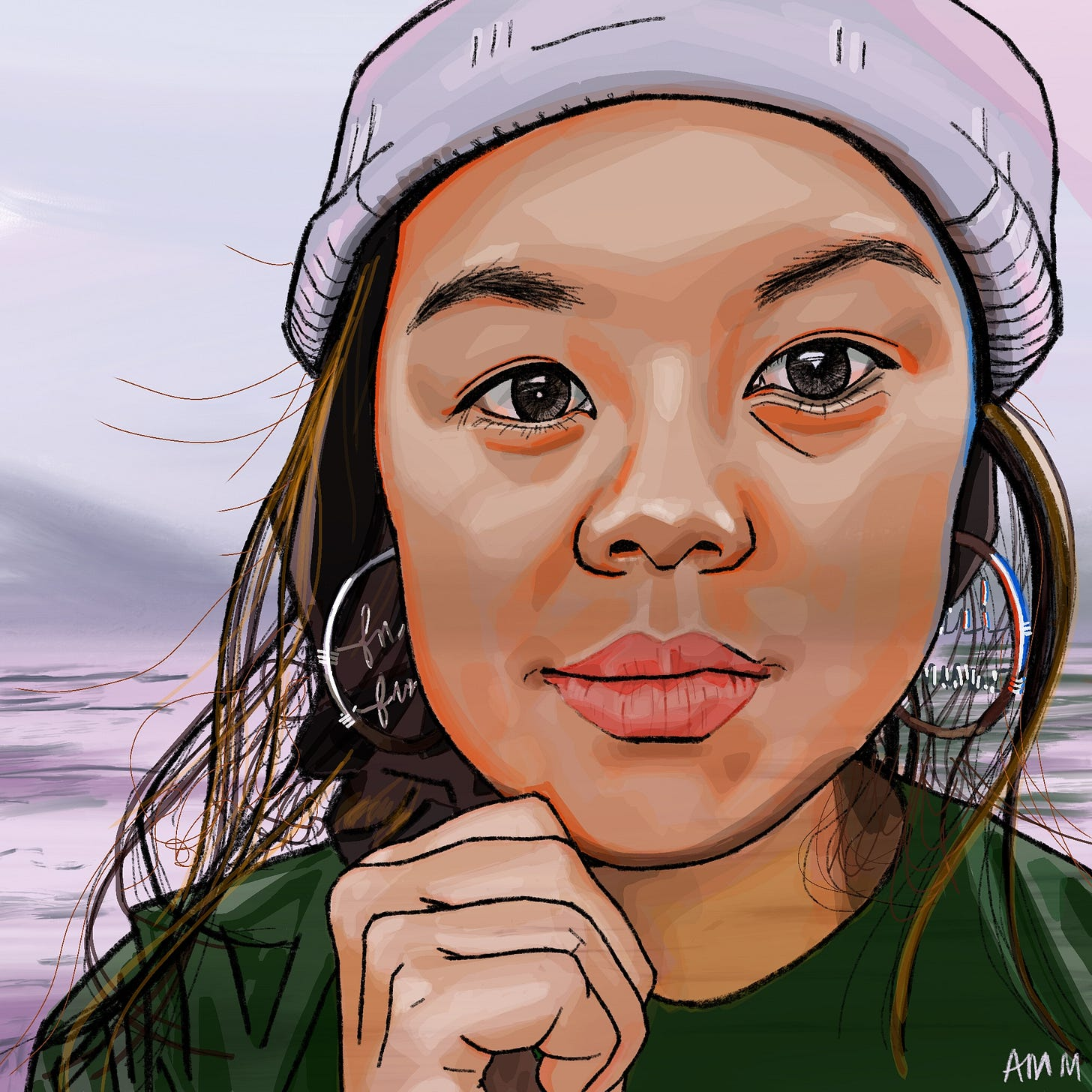 Illustration of Erica in a grey toque and hoop earrings, she faces the camera with the water behind her