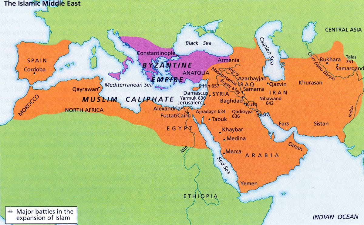 """Map of the """"major battles in the expansion of Islam"""""""
