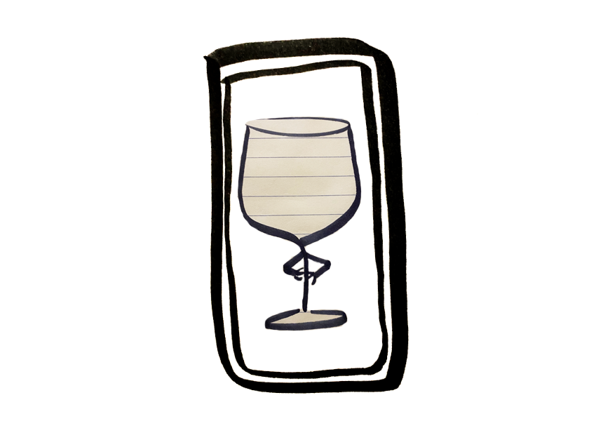A picture of a wine glass in a notes app on a cell phone
