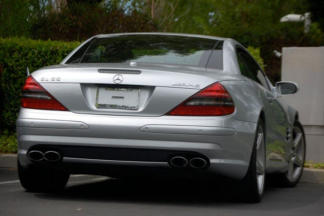 One of the many identical leased Mercedes-Benz SL55 AMGs driven by Steve Jobs. This one was spotted in 2008. Jobs would change cars (always sticking with an identical model) every six monthstoavoid having to put a license plate on the back.