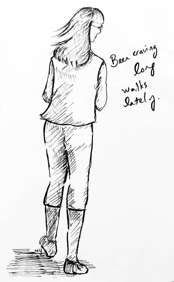 Black and white ink drawing of the back of a woman with glasses and medium length hair, walking. She's wearing a sleeveless t-shirt, calf-length leggings and walking shoes. The soft wind is blowing on her hair.