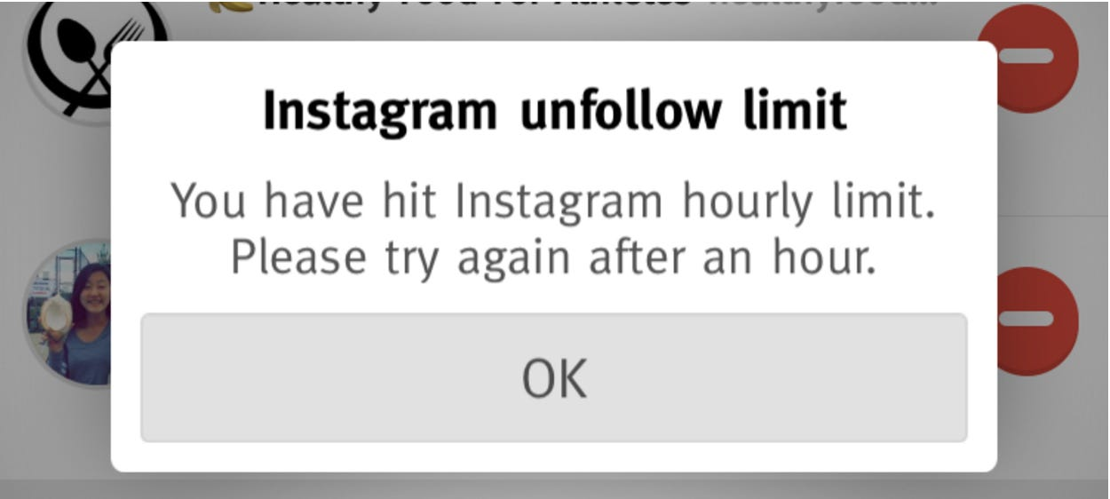 Instagram Shadowban - Instagram follow/unfollow limits