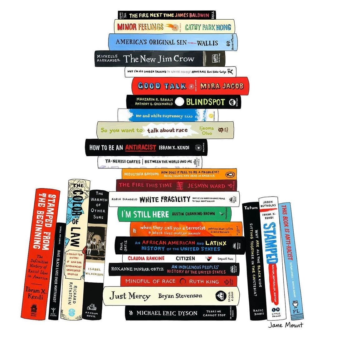 an illustrated stack of anti-racism books.