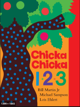 """The cover of the picture book, """"Chicka Chicka 123"""" by Bill Martin Jr, Michael Sampson and Lois Ehlert."""