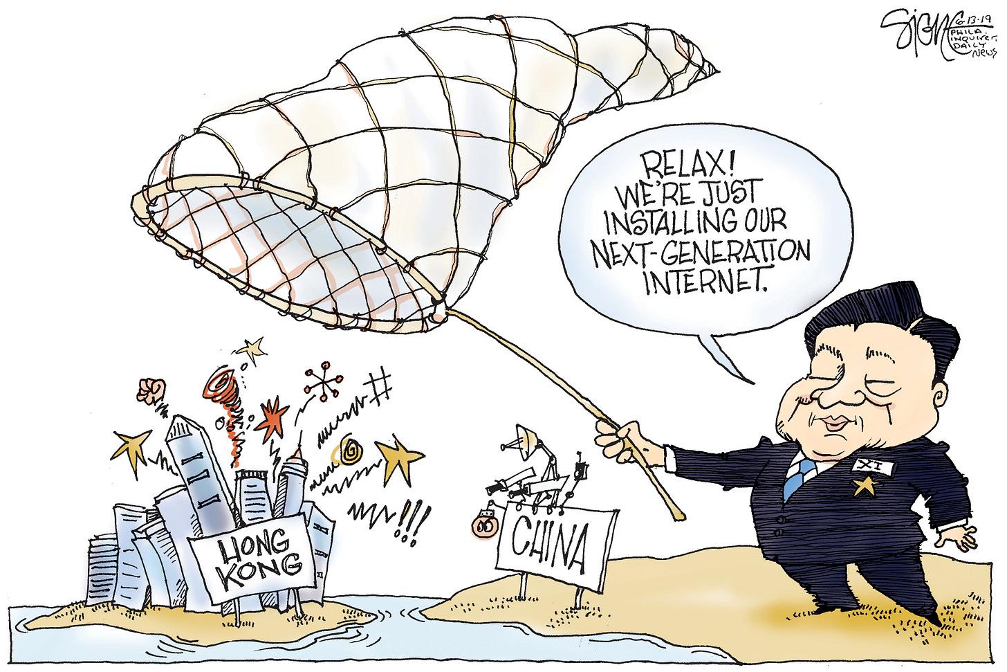 Political Cartoon: Hong Kong's Chinese internet