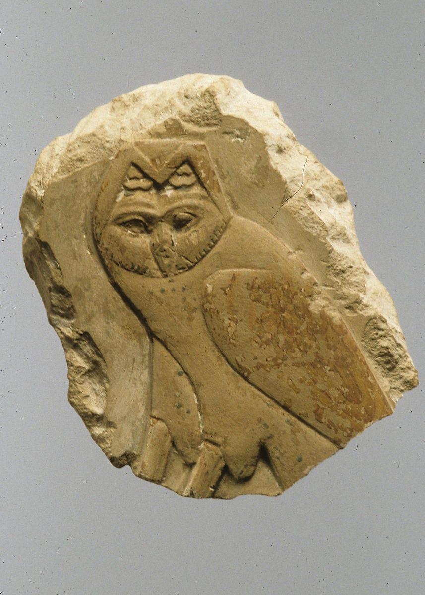 Relief, owl, Limestone, pigment