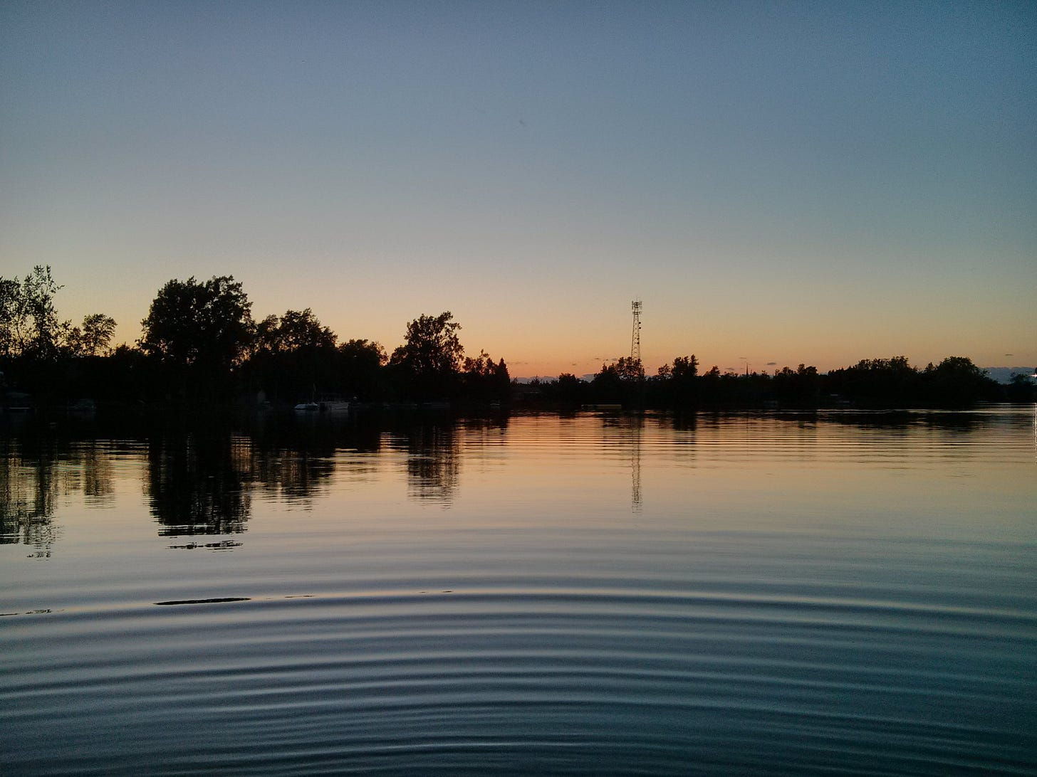 Water ripples out from the position of the camera lens on a lake at dusk, with trees and a cell tower in the distance.