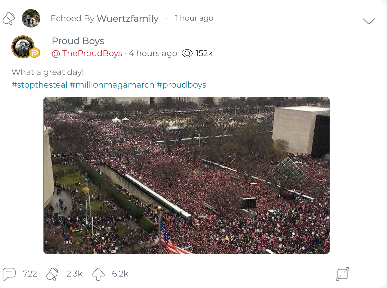 "@WuertzFamily shares a post from The Proud Boys' official Parler account celebrating the ""Million MAGA March."" (Image: Parler screenshot.)"