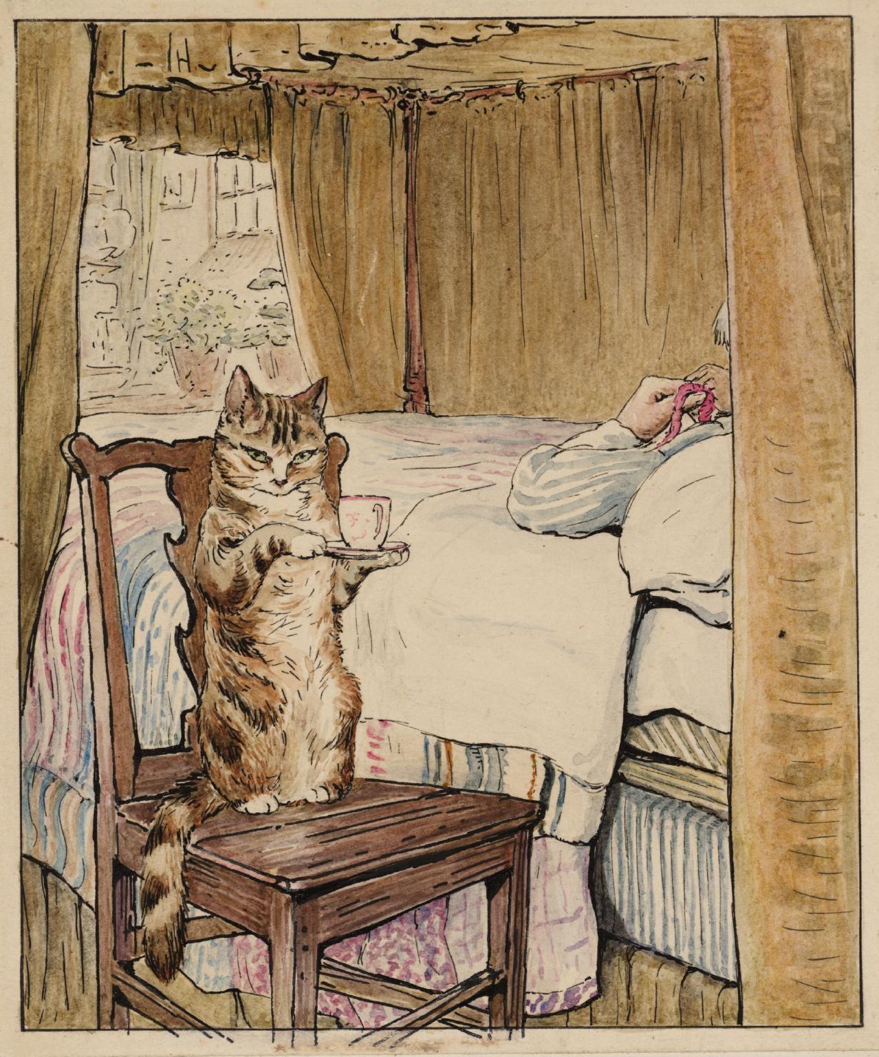 Helen Beatrix Potter, 'Simpkin at the Tailor's Bedside' c.1902
